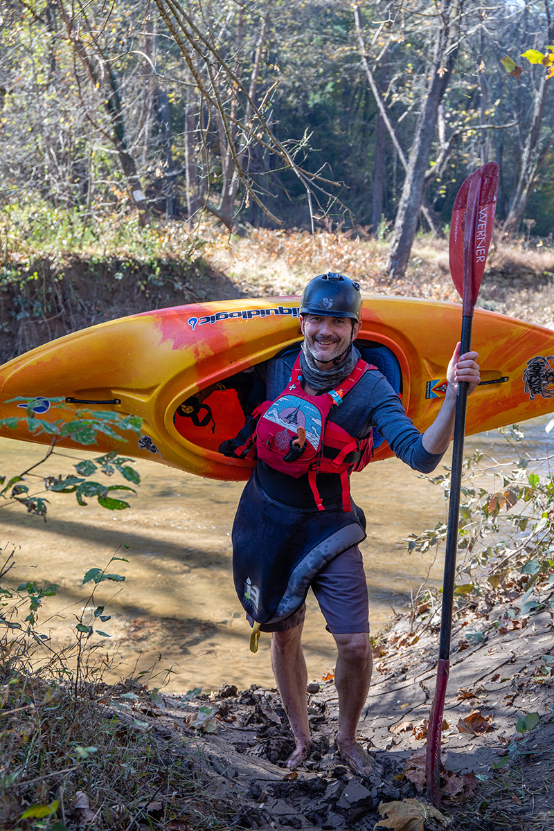 Marcos Harkness and his kayak